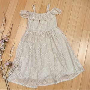 TORRID cream lace off the shoulder dress, 0 12.